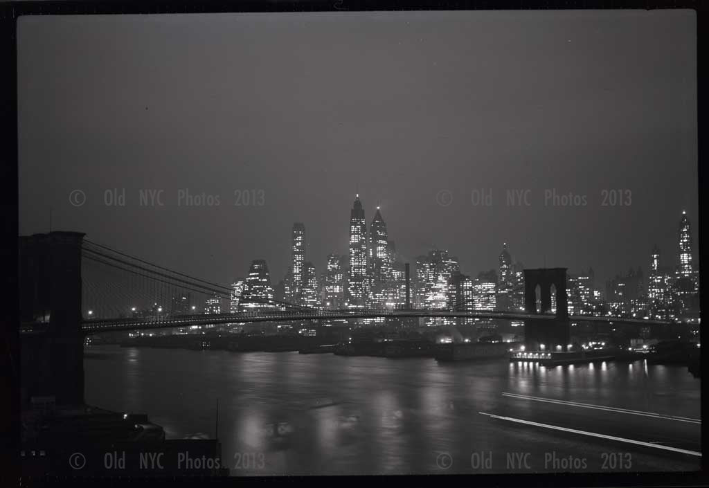 Brooklyn Bridge at night Old Vintage Photos and Images