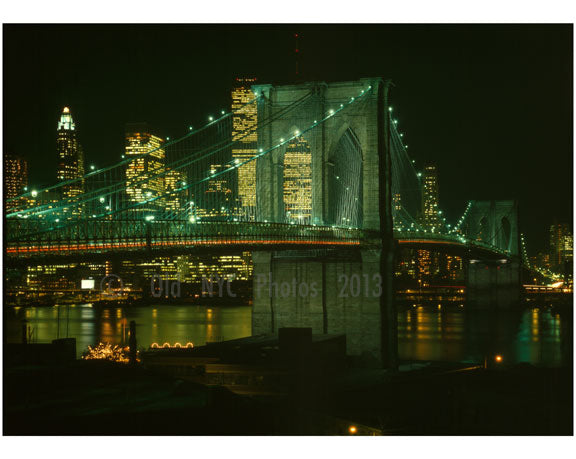 Brooklyn Bridge at night with the city glowing behind Old Vintage Photos and Images