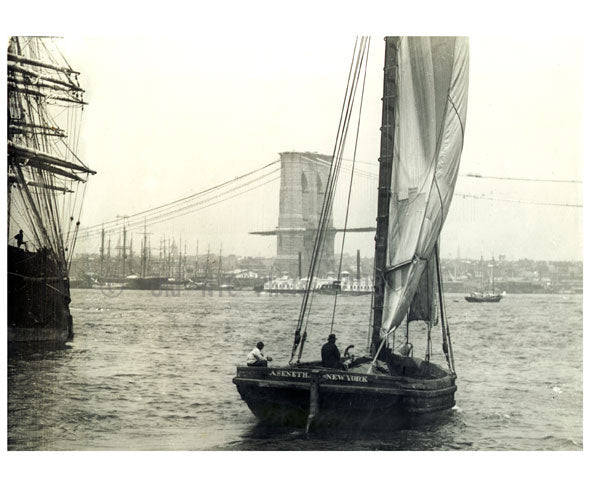 Brooklyn Bridge behind a sail boat Old Vintage Photos and Images