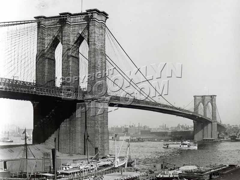 Brooklyn Bridge ca. 1900 from Manhattan near current South Street Seaport location Old Vintage Photos and Images