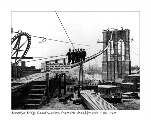 Brooklyn Bridge Construction, from the Brooklyn side 1877 Dumbo Brooklyn NY Old Vintage Photos and Images