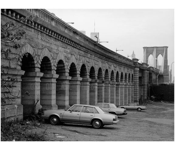 Brooklyn Bridge - detail view looking NW at masonry approach arches on the Brooklyn Bridge - 1982 Old Vintage Photos and Images