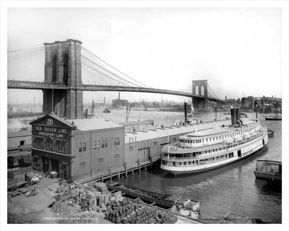 Brooklyn Bridge from Pier 20 East River NYC 1900 Old Vintage Photos and Images