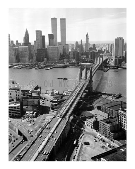 Brooklyn Bridge in front of the Manhattan skyline 1978 Old Vintage Photos and Images