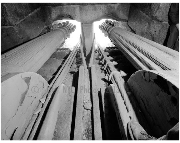 Brooklyn Bridge - inside view of the east tower - looking at the two center cables extending out of masonry openings 1983 Old Vintage Photos and Images