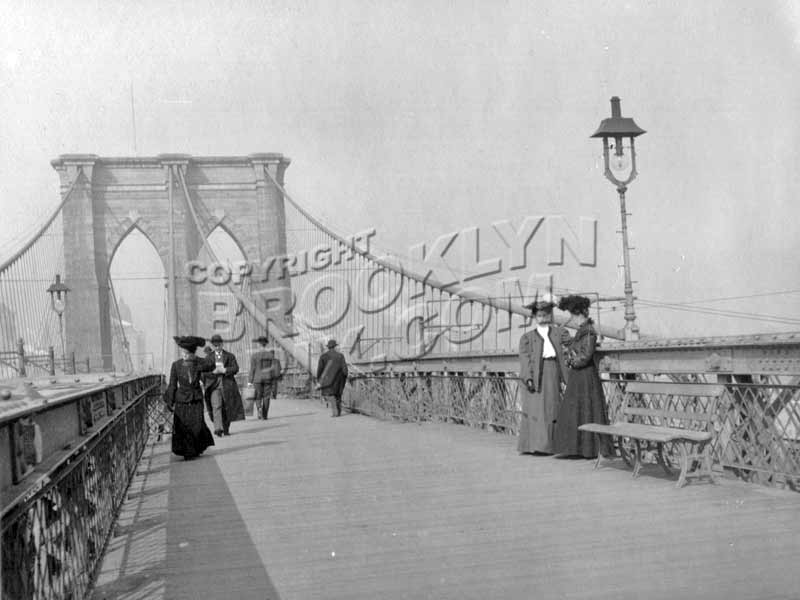 "Brooklyn Bridge pedestrian walkway during the ""Gay 1890s"" Old Vintage Photos and Images"