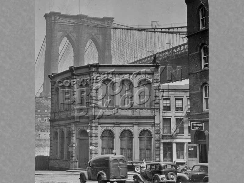 Brooklyn Bridge seen from Fulton and Water Streets, Brooklyn, c.1940 Old Vintage Photos and Images