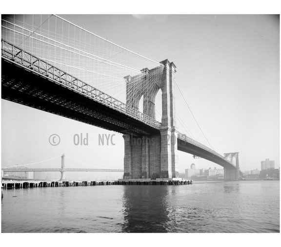 Brooklyn Bridge - view looking east from Manhattan shore with Manhattan Bridge in background - 1978 Old Vintage Photos and Images