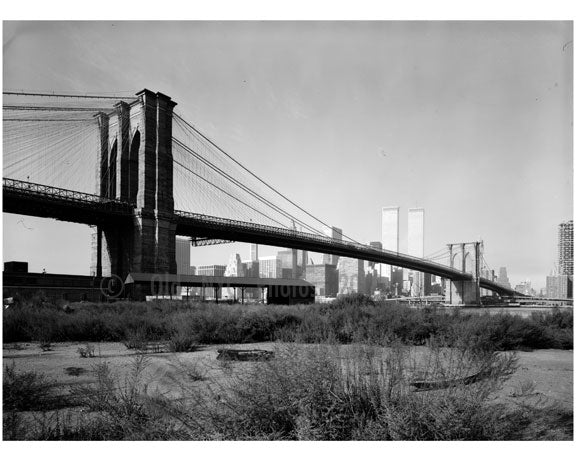 Brooklyn Bridge - view looking from the Brooklyn shore 1974 Old Vintage Photos and Images