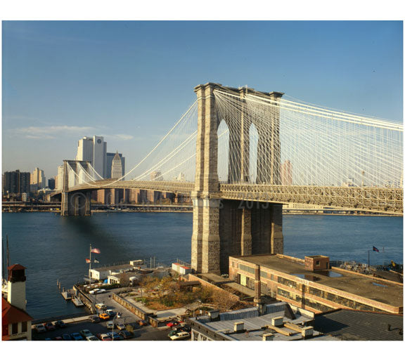 Brooklyn Bridge - view looking north with former Brooklyn ferry slip in foreground 1979 Old Vintage Photos and Images