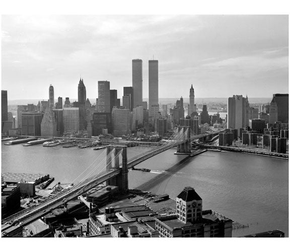 Brooklyn Bridge - view looking towards Manhattan 1978 Old Vintage Photos and Images