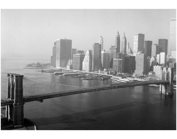 Brooklyn Bridge - view looking towards Manhattan 1982 Old Vintage Photos and Images