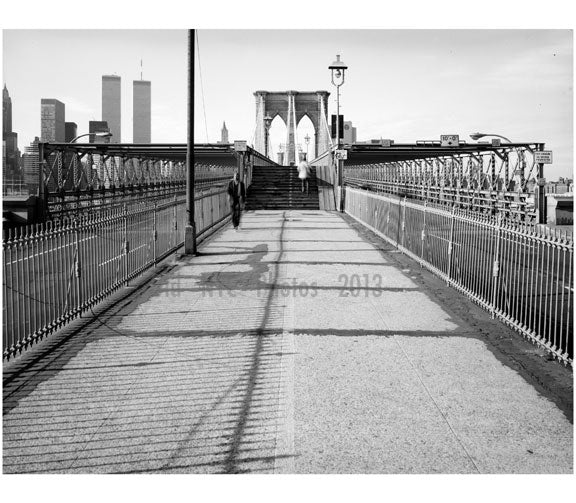 Brooklyn Bridge - view looking up towards Manhattan 1982 Old Vintage Photos and Images