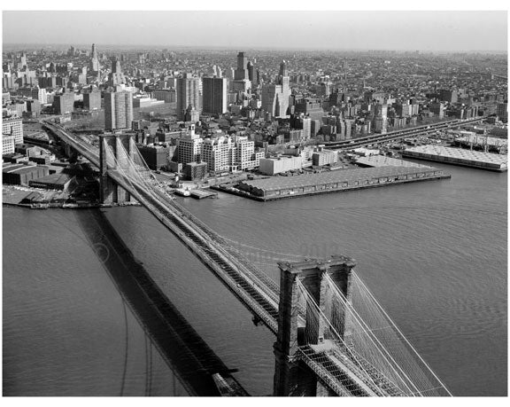 Brooklyn Bridge -  view towards Brooklyn heights - 1978 Old Vintage Photos and Images