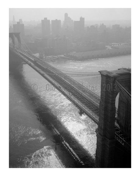 Brooklyn Bridge -  view towards Manhattan - 1982 Old Vintage Photos and Images