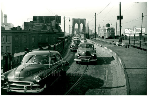 Brooklyn Bridge with cars passing over Old Vintage Photos and Images