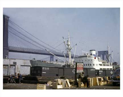 Brooklyn Bridge with Ship Old Vintage Photos and Images