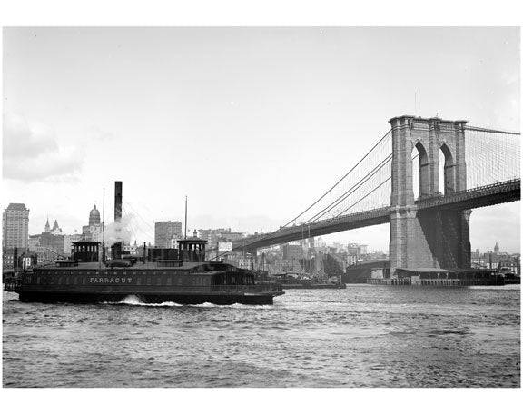 Brooklyn Bridge with the Fulton Ferry passing in front of it Old Vintage Photos and Images