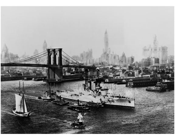 Brooklyn Bridge with the U.S.S. Florida passing infront Old Vintage Photos and Images