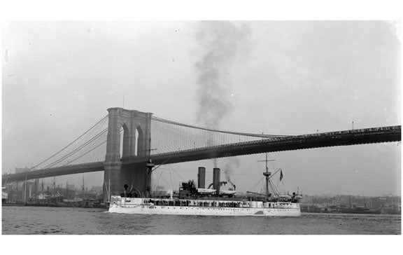 Brooklyn Bridge with the U.S.S. Maine passing by Old Vintage Photos and Images