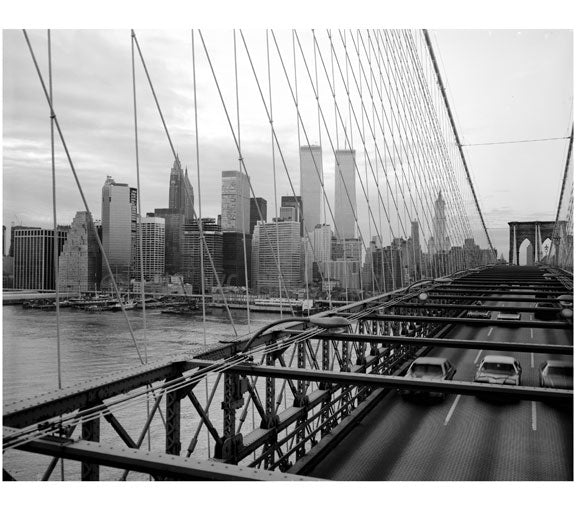 Brooklyn Bridge with The World Trade Center in the background 1982 Old Vintage Photos and Images