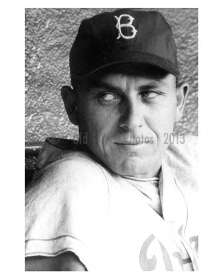 Brooklyn Dodger Gil Hodges in the dugout at Ebbets Field 1957 - Brooklyn NY