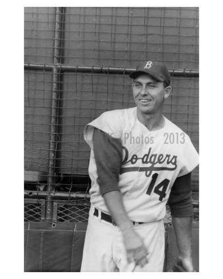 Brooklyn Dodger Gil Hodges warming up at Ebbets Field 1957 - Brooklyn NY