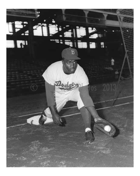 Brooklyn Dodger Jackie Robinson at Ebbets Field 1955
