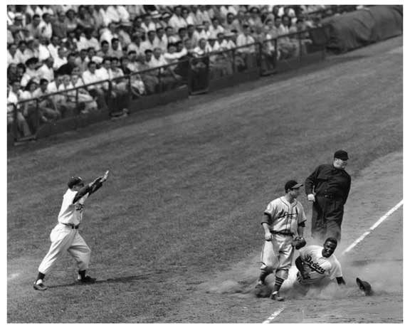 Brooklyn Dodgers - Jackie Robinson sliding into 3rd base 1950