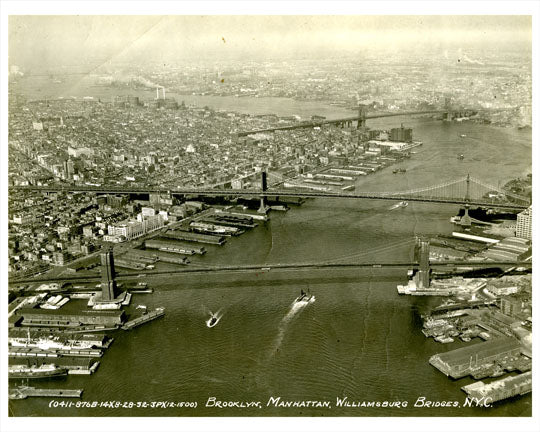 Brooklyn Manhattan Williamsburg Bridge 1932 Postcard - Aerial Shot of NYC Old Vintage Photos and Images