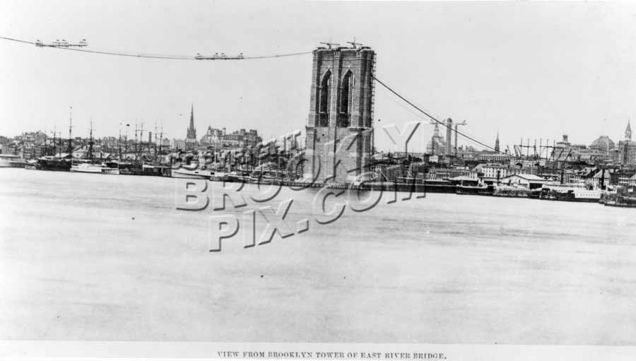 Brooklyn Tower of Brooklyn Bridge c.1876 Old Vintage Photos and Images
