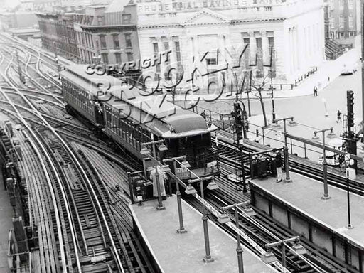 """BU"" 1300 series elevated cars on fan trip, seen at junction of Broadway and Myrtle elevateds, 1956 Old Vintage Photos and Images"