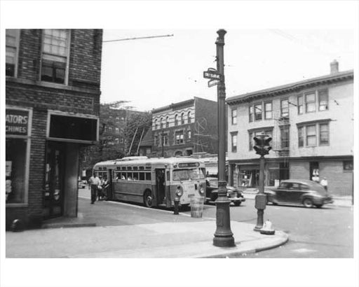 Bus stop at Cortelyou Road &  Coney Island Ave - Kensington - Brooklyn, NY 1951 Old Vintage Photos and Images