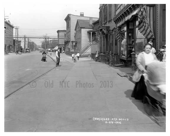 Bushwick Avenue north looking at Grand Ave  - Williamsburg - Brooklyn, NY 1916 E1 Old Vintage Photos and Images