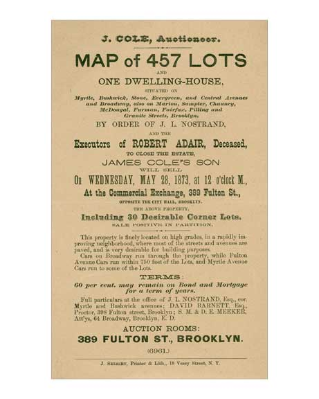 Bushwick Brochure 1873 - describing lots for sale in Bushwick - Brooklyn, NY Old Vintage Photos and Images