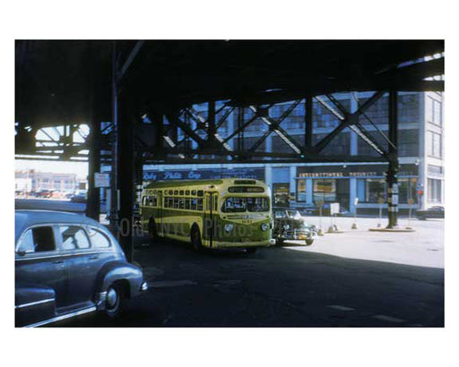 Bustop 1940s - Long Island City - Queens NY Old Vintage Photos and Images