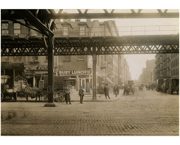 """Busy Lunch"" 1st Street - view east from Bowery Old Vintage Photos and Images"