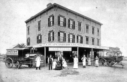 Butecke's Meat Market, NE corner Ave. L and E.95th St., 1890s, courtesy Alice Lowder Zetterstrom Old Vintage Photos and Images