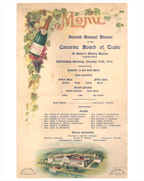 "Canarsie ""Bakers Dining Rooms"" Menu 1915 - Brooklyn NY Old Vintage Photos and Images"