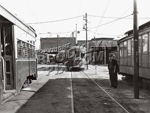 Canarsie Depot, Hegeman & Chester, 1946, eastern terminal of Church Ave. Line, last Brooklyn trolley Old Vintage Photos and Images