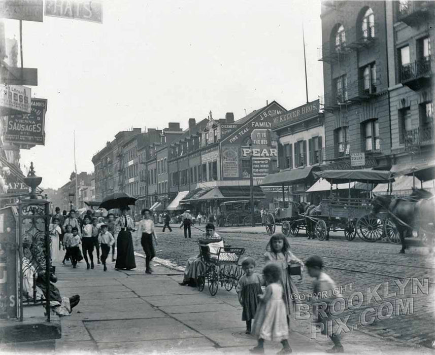 Carmine Street, south to Bleecker Street, Greenwich Square, 1895 Old Vintage Photos and Images