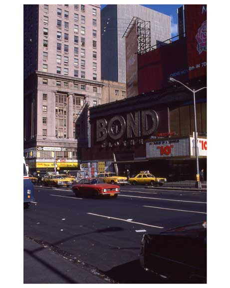 Cars rolling through Times Square in 1970s Manhattan IIC