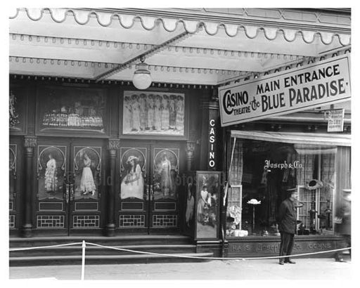 """Casino Theatre"" Main Entrance - South East corner of  Broadway & 39th Street - Midtown Manhattan - 1915 Old Vintage Photos and Images"