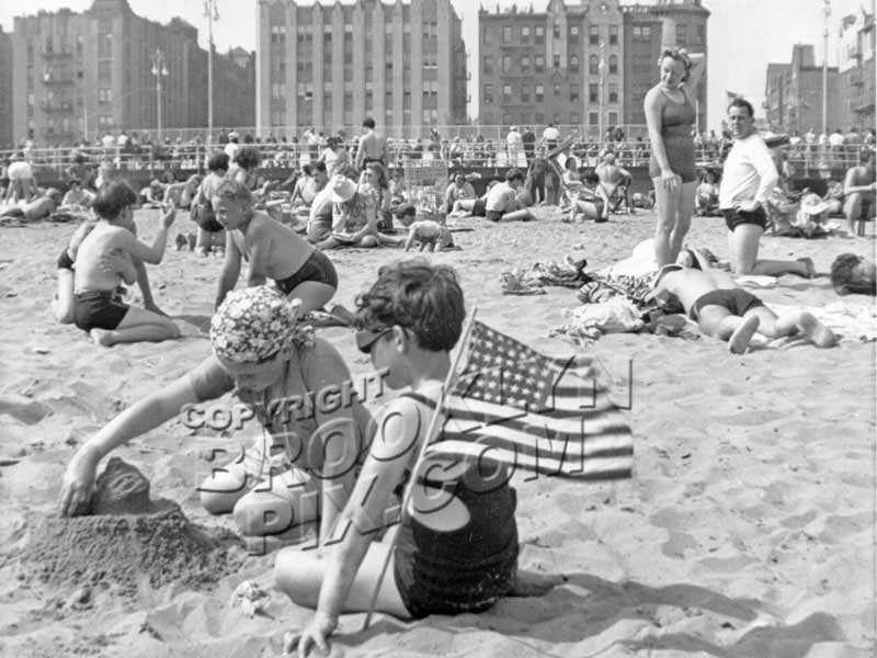 Castles in the sand at Brighton Beach, c.1950 Old Vintage Photos and Images