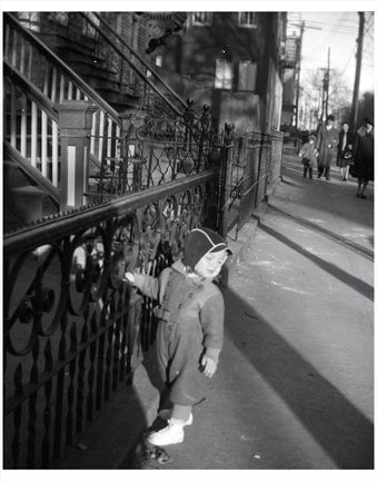 Child on Sidewalk, Brooklyn Old Vintage Photos and Images