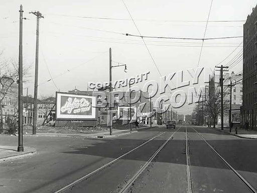 Church Avenue looking east toward Troy Avenue, 2-1-46 Old Vintage Photos and Images