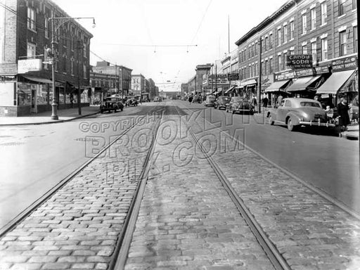 Church Avenue looking west from East 2nd Street, showing Beverly Theater, 1947 Old Vintage Photos and Images