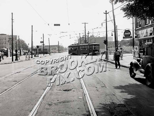 Church Avenue trolley turning into East 98th Street on way to Canarsie Depot, August 8, 1948 Old Vintage Photos and Images