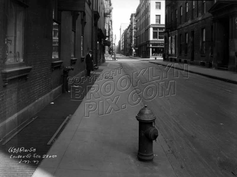 Church Street looking north near Franklin Street, Tribeca, before widening, 1927 Old Vintage Photos and Images