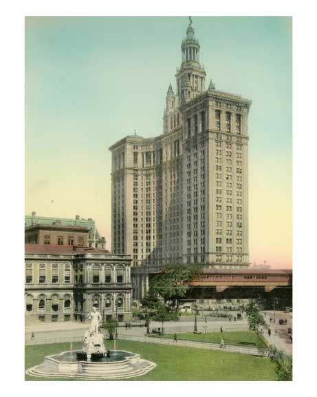 City Hall & Civic Virtue Statue - Municipal Building - Financial District - New York, NY Old Vintage Photos and Images